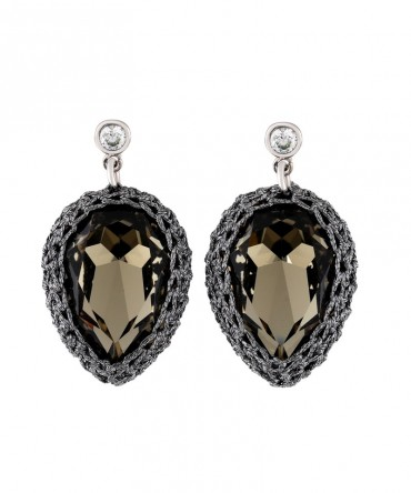 Gala Large Black Crystal Earrings With Grey Thread
