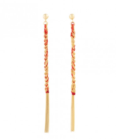LINK GOLD LONG EARRINGS WITH RED THREAD