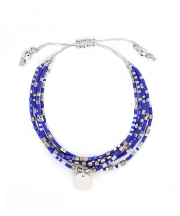 MICA 5 STRANDS BRACELET WITH NAVY-BLUE BEADS AND MEDALLION SILVER CHARM