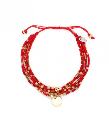 MICA 5 STRANDS BRACELET WITH RED BEADS AND MEDALLION GOLD CHARM