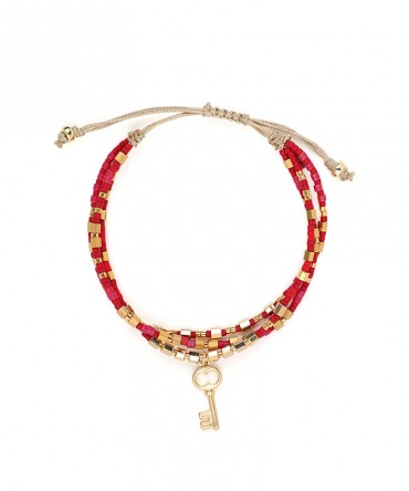 MICA 3 STRANDS BRACELET WITH RED BEADS AND KEY SILVER CHARM