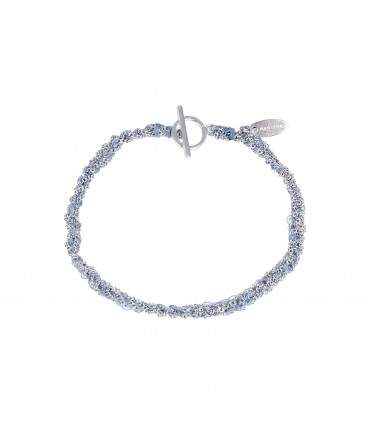 LINK SILVER CHAIN BRACELET WITH BLUE SILK