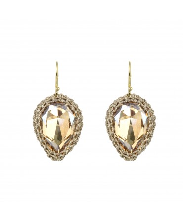 GALA BIG GOLD CRYSTAL EARRINGS WITH GOLD THREAD