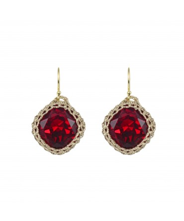 GALA SMALL RED RUBY CRYSTAL EARRINGS WITH GOLD THREAD