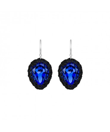 GALA SMALL SAPPHIRE BLUE CRYSTAL EARRINGS WITH BLACK THREAD
