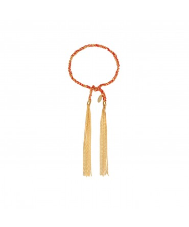 LINK GOLD CHAIN BRACELET WITH RED COTTON