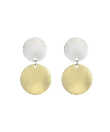 LINK SILVER GOLD MATT EARRINGS WITH TWO MEDALLIONS