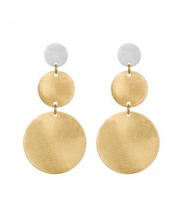 LINK SILVER GOLD EARRINGS WITH THREE MEDALLIONS