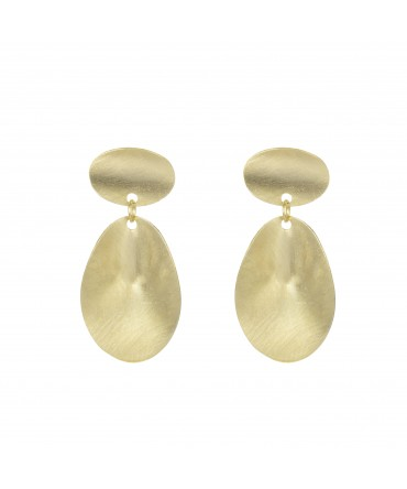 LINK LONG GOLD PLATED EARRINGS WITH TWO MEDALLIONS