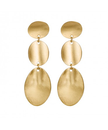 LINK LONG SILVER GOLD EARRINGS WITH THREE MEDALLIONS