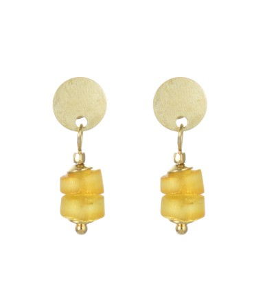 LINK EARRINGS WITH AMBER