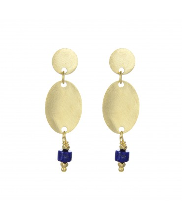 LINK EARRINGS WITH MEDALLIONS AND CORAL