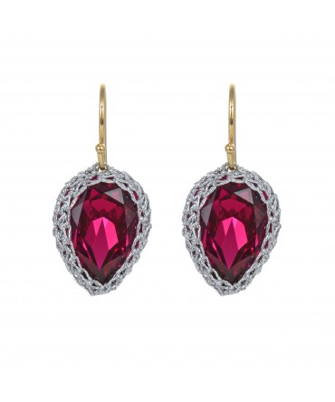 GALA PINK CRYSTAL EARRINGS WITH SILVER THREAD