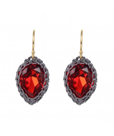GALA RED CRYSTAL EARRINGS WITH GREY THREAD