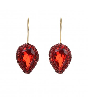 GALA SMALL RED CRYSTAL EARRINGS WITH RED AND BLACK THREAD