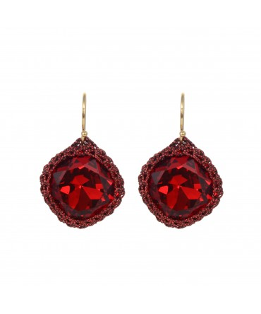 GALA MEDIUM RED CRYSTAL EARRINGS WITH RED AND BLACK THREAD ON GOLD HOOKS