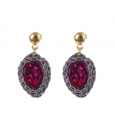 GALA SMALL RED RUBY CRYSTAL EARRINGS WITH GREY THREAD AND GOLD POSTS