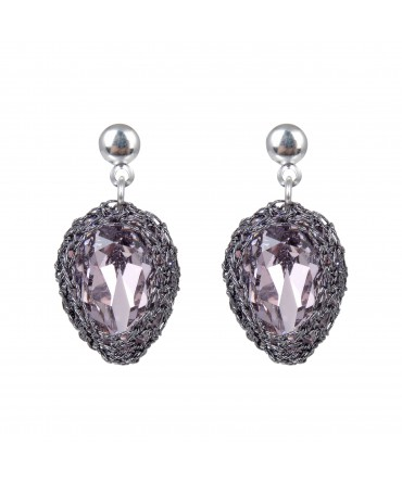 GALA SMALL LAVENDER CRYSTAL EARRINGS WITH GREY THREAD AND SILVER POSTS