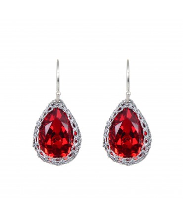 GALA SMALL RED CRYSTAL EARRINGS WITH SILVER THREAD AND SILVER HOOKS