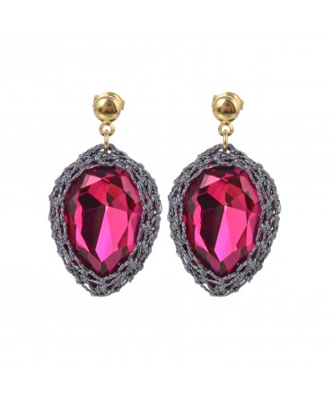 GALA LARGE RUBY CRYSTAL EARRINGS WITH GREY THREAD ON SILVER POSTS