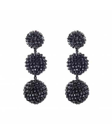 GALA BALL EARRINGS WITH BLACK CRYSTALS AND THREAD