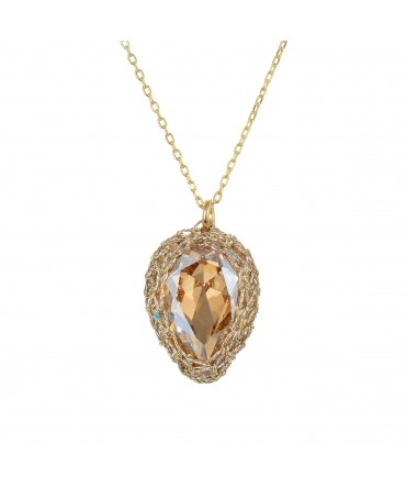 GALA SMALL GOLD CRYSTAL PENDANT WITH GOLD THREAD