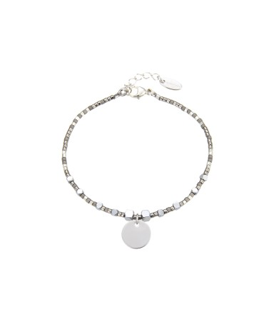 MICA BRACELET WITH SILVER&GREY BEADS AND MEDALLION CHARM