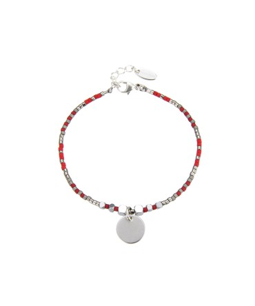 MICA BRACELET WITH SILVER&RED BEADS AND MEDALLION CHARM