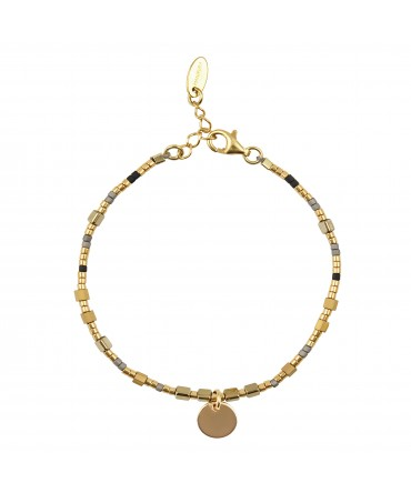 MICA BRACELET WITH GOLD&GREY&BLACK BEADS AND MEDALLION GOLD CHARM