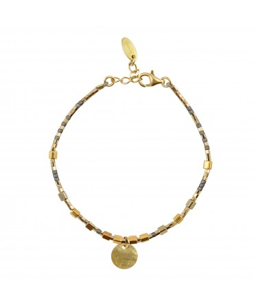 MICA BRACELET WITH GOLD&GREY BEADS AND MEDALLION GOLD PLATED CHARM