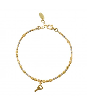 MICA BRACELET WITH GOLD&GREY BEADS AND KEY CHARM