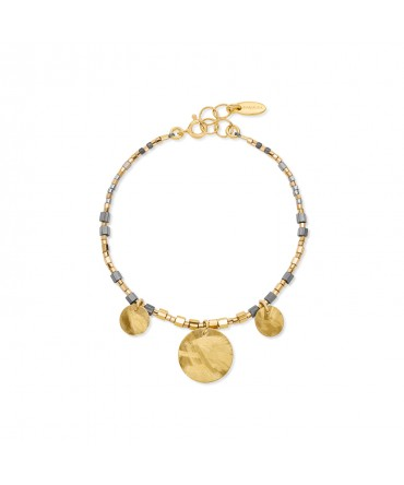 MICA BRACELET WITH GOLD&GREY BEADS AND 3 GOLD MEDALLIONS