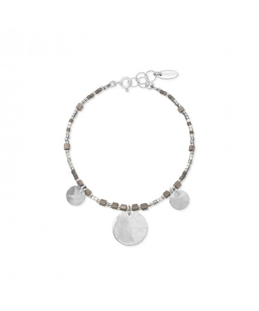 MICA BRACELET WITH SILVER&GREY BEADS AND 3 SILVER MEDALLIONS