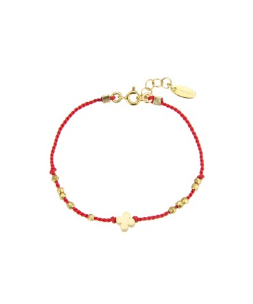 MICA BRACELET WITH GOLD FLOWER, GOLD BEADS AND RED THREAD
