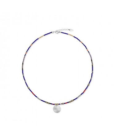 MICA NAVY BLUE NECKLACE WITH SILVER MEDALLION