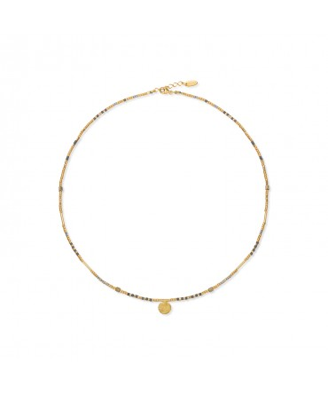 MICA GOLD NECKLACE WITH SMALL GOLD MEDALLION