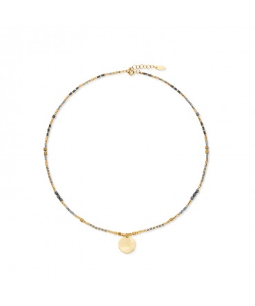 MICA GOLD NECKLACE WITH MEDIUM GOLD MEDALLION