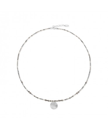 MICA SILVER NECKLACE WITH MEDIUM SILVER MEDALLION