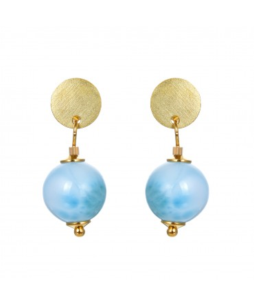 LINK EARRINGS WITH AQUAMARINE AND GOLD POSTS