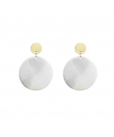 LINK SILVER GOLD MATT EARRINGS WITH SILVER LARGE MEDALLIONS ON GOLD POSTS