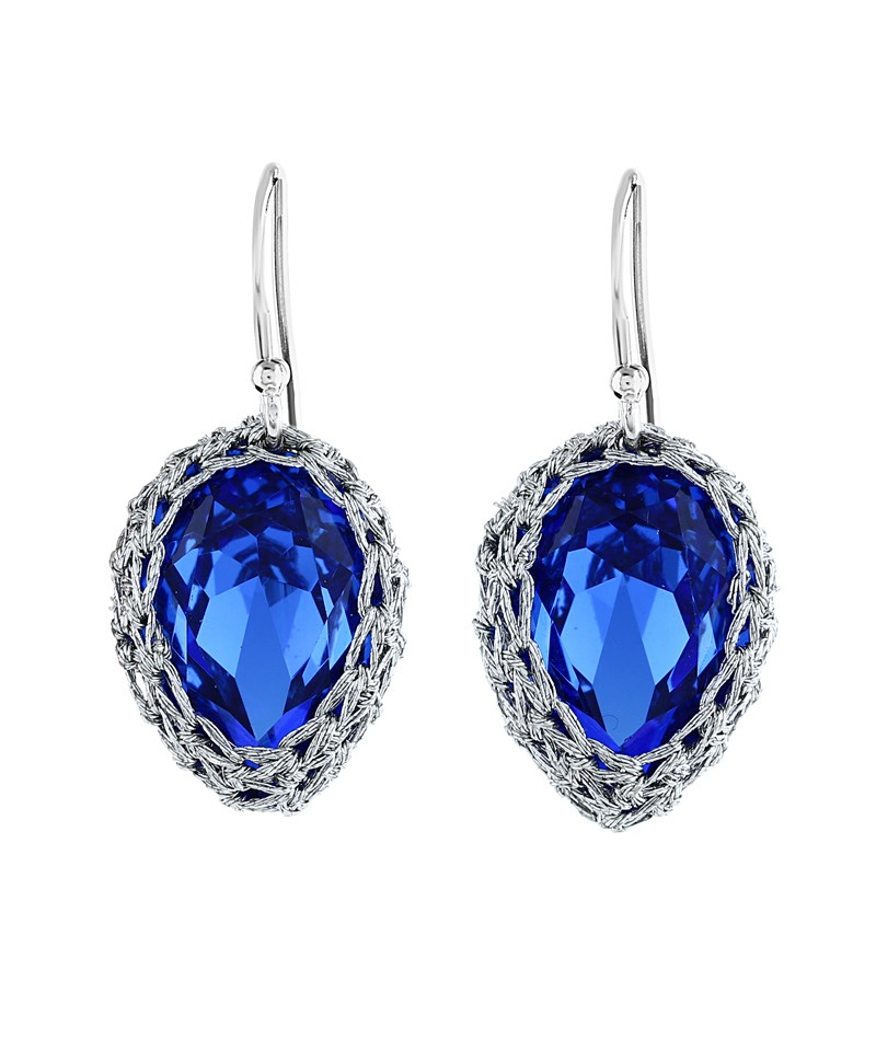 Gala small sapphire blue crystal earrings with silver thread