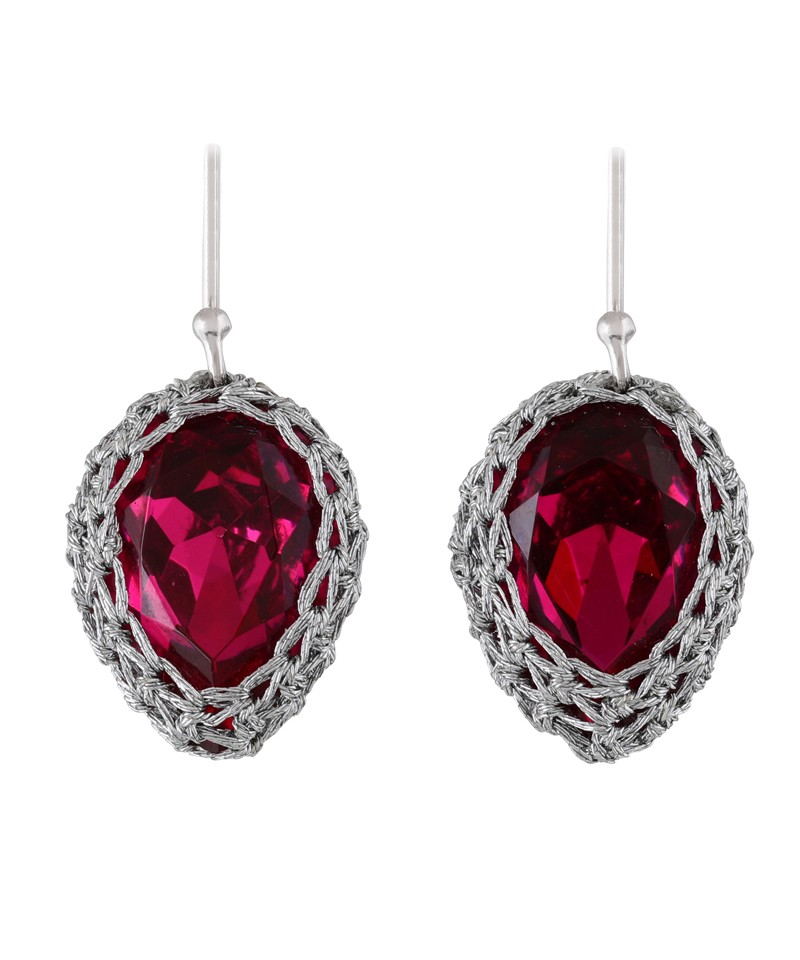 Gala small red ruby cristal earings with silver thread