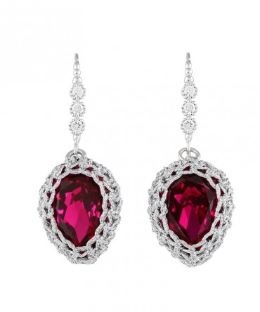 GALA LONG RED RUBY CRYSTAL EARRINGS WITH SILVER THREAD