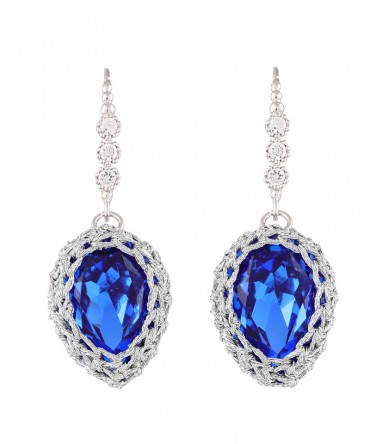 GALA LONG SAPPHIRE BLUE CRYSTAL EARRINGS WITH SILVER THREAD