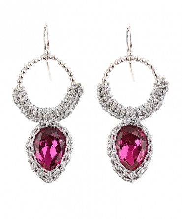 GALA RED RUBY CRYSTAL EARRINGS WITH SILVER THREAD AND DECORATIF RING