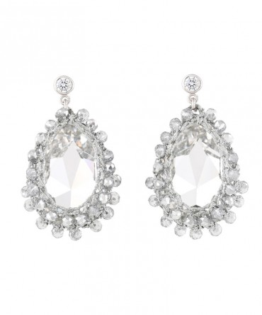 GALA LARGE CRYSTAL EARRINGS WITH SILVER CRYSTAL BEADS