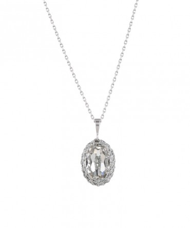 GALA SMALL CRYSTAL PENDANT WITH SILVER THREAD
