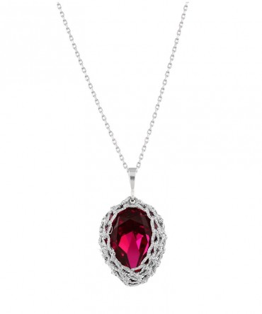 GALA SMALL RED RUBY CRYSTAL PENDANT WITH SILVER THREAD
