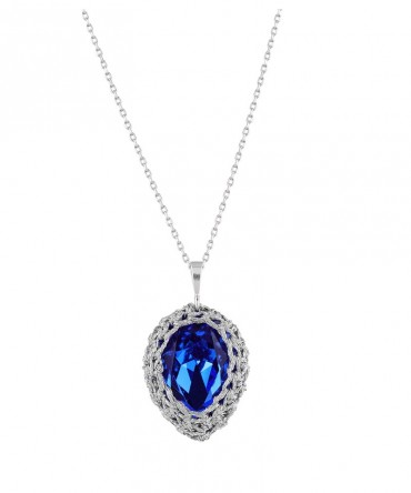 GALA SMALL SAPPHIRE BLUE CRYSTAL PENDANT WITH SILVER THREAD