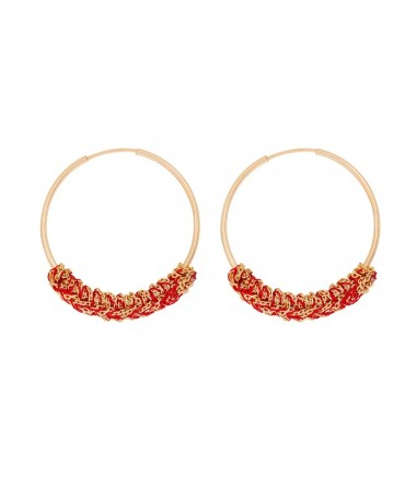 LINK SMALL HOOPS WITH RED SILK